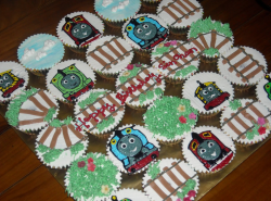 Thomas and friends cupcakes with train rails, Thomas train, Percy, James and Salty train.PNG