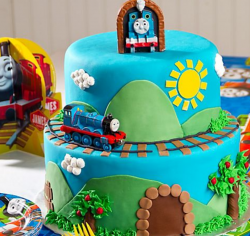 Island of Soldor cake picture of Thomas the train.PNG
