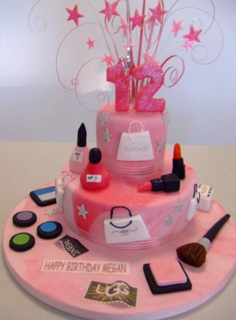 Pink 12th birthday cake in makeup and shopping theme.JPG