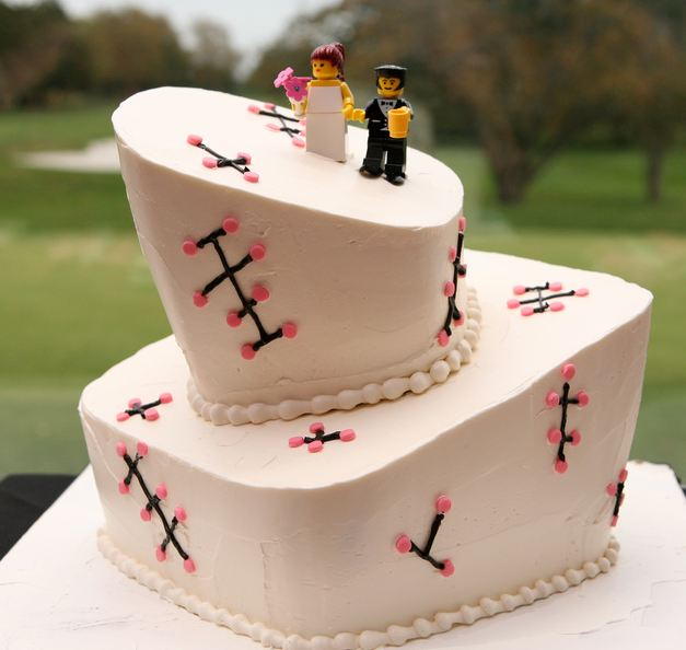 Two Tier Offset Wedding Cake With Lego Bride And Groom ToppersJPG