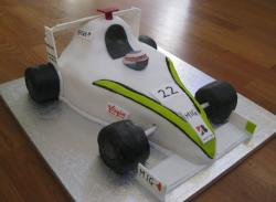 White formula 1 race car cake.JPG