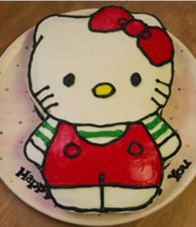 Hello Kitty body cake with red and green outfit.PNG