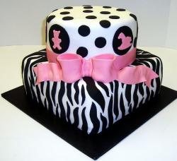 Zebra stripes and pokadots two tier baby shower cake.JPG