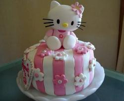 Cute Pink Striped Round Hello Kitty Cake with Heart.JPG