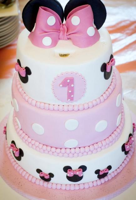 Remarkable Minnie Mouse Theme First Birthday Cake In 3 Tiers With Pink Bows Funny Birthday Cards Online Alyptdamsfinfo