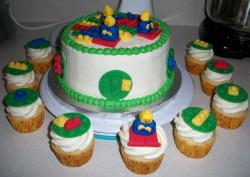 Lego theme birthday cake with cupcakes with cute lego cake toppers.JPG