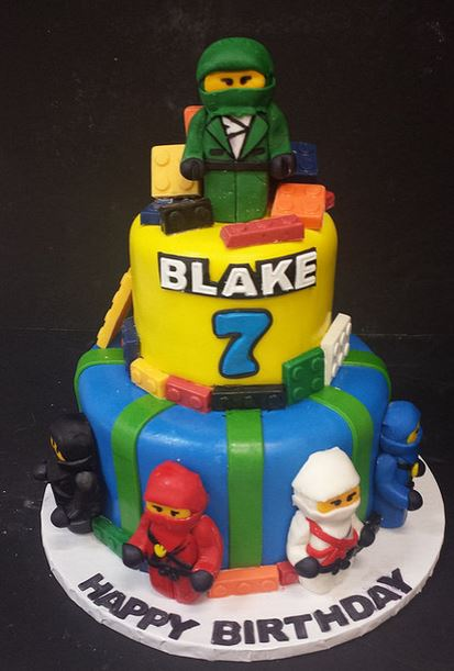 Ninja lego birthday cake in two layers.JPG