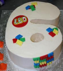 Number 6 shaped cake with lego cake topper.JPG