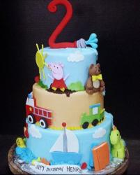 Peppa Pig Theme 3 Tier Birthday Cake for Two year-old.JPG