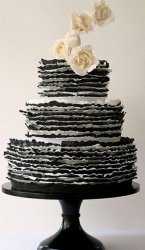modern black and white wedding cake in three tiers with creamy rose cake decor topper.PNG