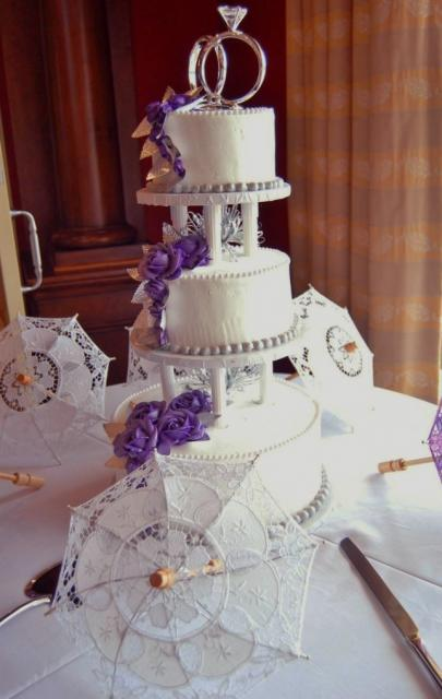 Round Wedding Cakes With Purple Flowers Tier White Cake Diamond Ring Topper