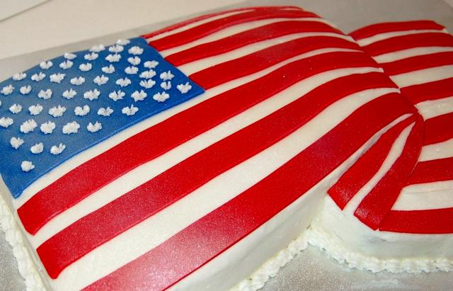 Draped USA Folded Flag Shape Cake.JPG