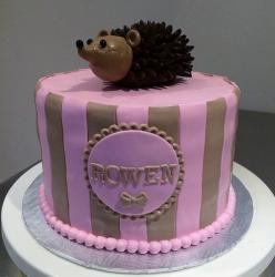 Pink Striped Baby Shower Cake with Cute Porcupine on Top.JPG