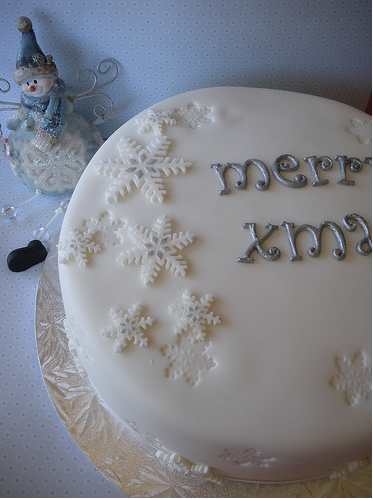 Modern Christmas Cake In White With Silver Writing And