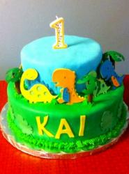 Dinosaur Theme 2-tier First Birthday Cake.JPG