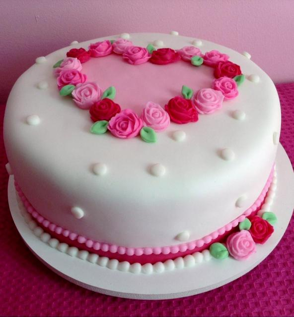 Valentines Day Cake with Flower Wreath in Shape of Heart on Top.JPG