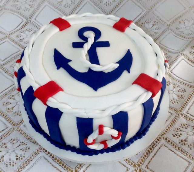Nautical Theme Birthday Cake With Blue Anchor Life Ringg Hi Res