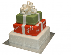 3 Tier Christmas Presents Cake in white, red and green.PNG