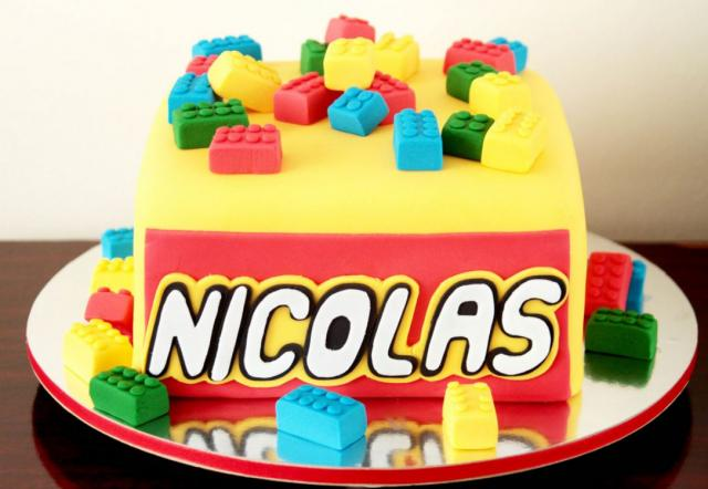 Lego box cake with lego blocks with colorful cake decors.JPG
