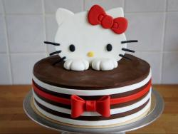 Cute Hello Kitty Striped Chocolate Cake with Red Bow.JPG