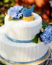 Bird in Nest Theme 2 Tier White Baby Shower Cake with Purple Flowers.JPG