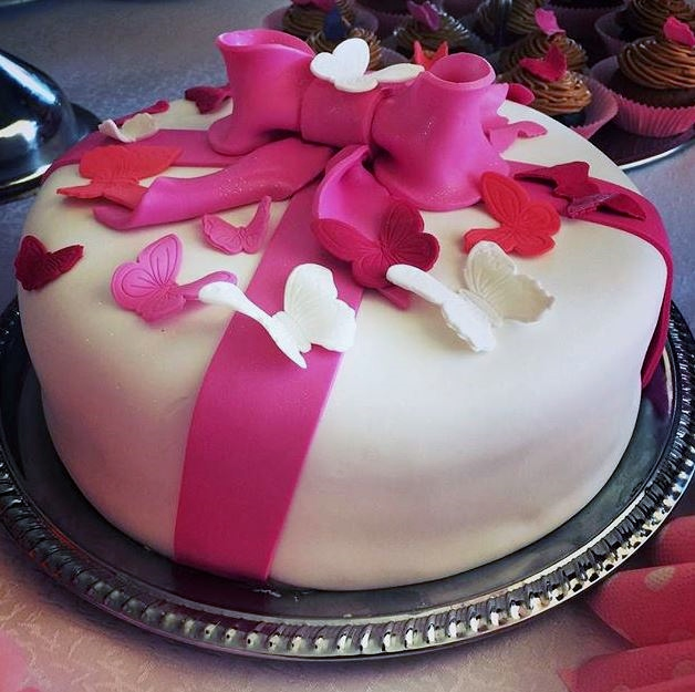 Round White Cake With Pink Bow Amp Butterflies On Top Jpg