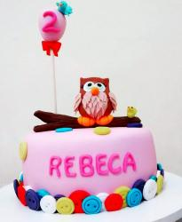 Cute Owl and Balloon Pink Birthday Cake for 2 year-old Girl.JPG