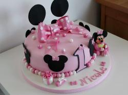 Cute Personalized Minnie Mouse Pink First Birthday Cake with Bow.JPG
