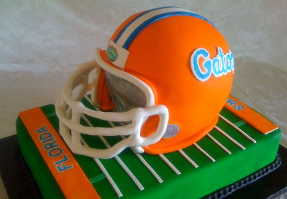 Floria Gators Helmet Cake With Football Field Jpg