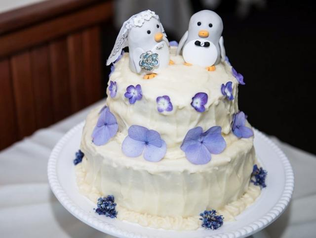 Small Wedding Cake In 2 Tiers With Mister Mrs Penguin Toppers Plus