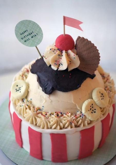 Modern ice cream cake shaped of ice cream in ice cream cup.JPG