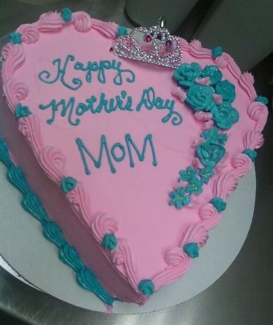 Pink heart shaped ice cream cake for mothers day cake pictures.JPG