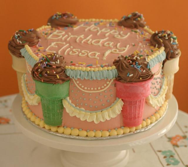 Colorful Ice Cream Cake With Cute Cake Decor With Ice