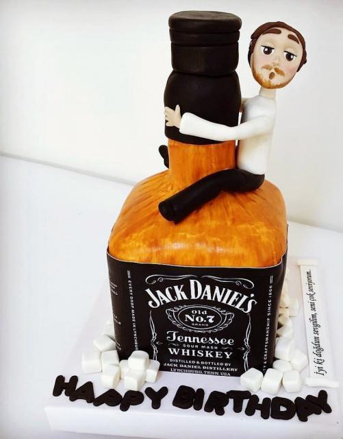Cool Jack Daniels Whiskey Cake With Man Hugging Bottle Jpg