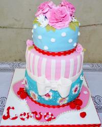 3 Tier Colorful Birthday Cake with Bow Tie & Pink Flowers for Women.JPG