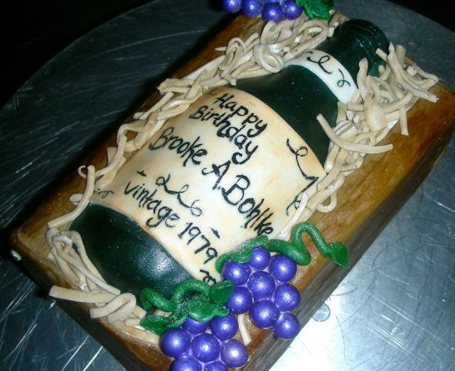 Wine Bottle With Grape Vines Birthday Cake