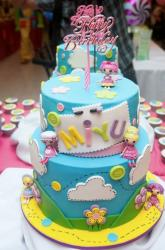 Cute 2 Tier Blue Doll Theme Birthday Cake for Girls with Clouds & Buttons.JPG