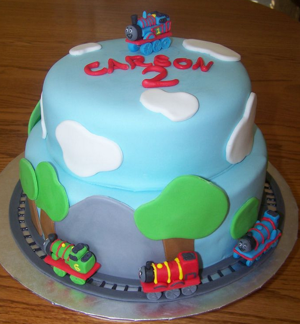 2015 kids birthday cakes pictures with Thomas the train cake theme with Thomas train cake topper.PNG
