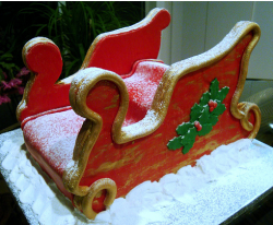 Christmas Sleigh cake in snow.PNG