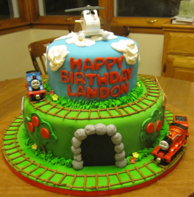 Cool Kids Birthday Cake With Train Theme Full Of Trains