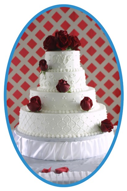 wedding cake picture with red roses