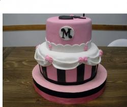 Pink Cute 2 Tier Baby Shower Cake with Monogram.JPG