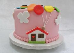 Cute Pink Cake with House with Balloons Out of Chimney.JPG