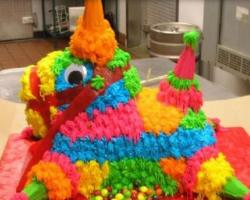 Horse pinata M&M birthday cake photo.JPG