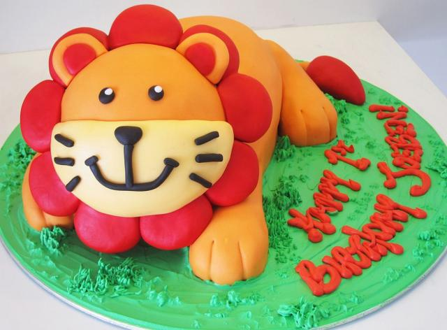 Lion shaped birthday cake perfect for little kids birthday parties.JPG
