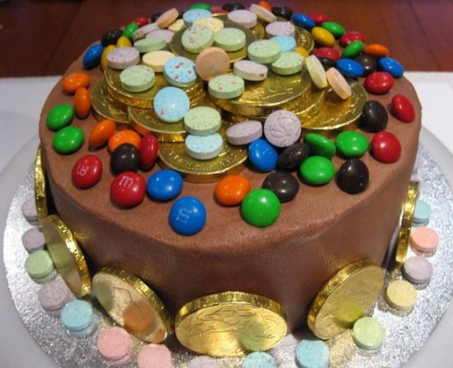 M and M cake decorate with candy.JPG