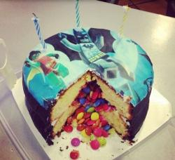 M&M kids birthday cakes with hereos theme.JPG