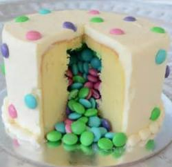 Modern m&m cakes filled with colorful mms.JPG