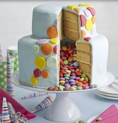 Stylish m&m two tiers birthday cake 2015 pictures.JPG
