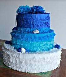Blue white wedding pinata cake photo.JPG